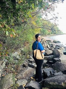 "Anisa hiking along the Shore Trail - ""Palisades Interstate Park: Perfect For a Fall Hike"" - Two Traveling Texans"