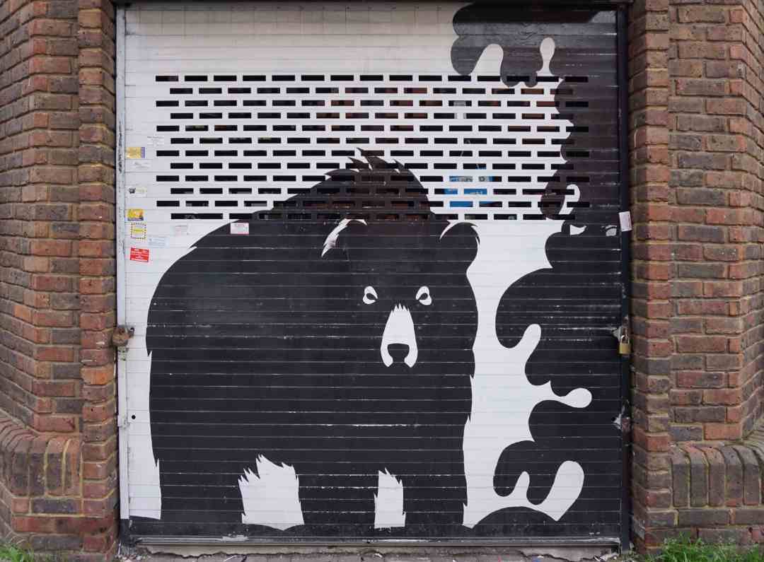 """One of a series of murals that Jasper did of black and white animals. """"Free Shoreditch Street Art Tour"""" - Two Traveling Texans"""
