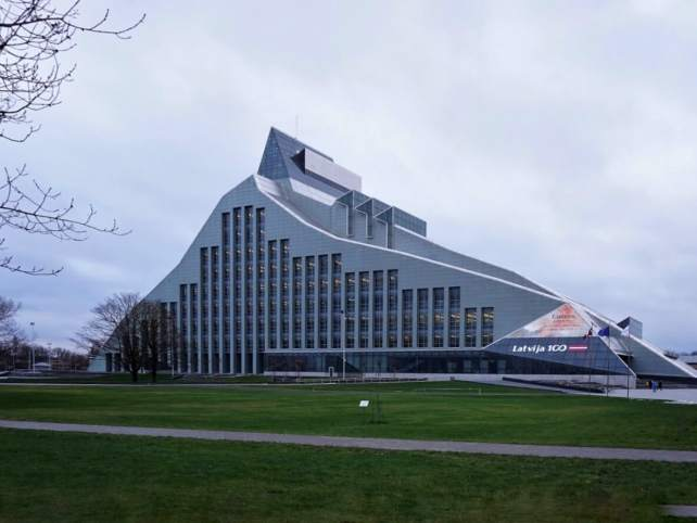 The modern architecture of the Riga Library really stood out compared to what we saw in Riga Old Town.