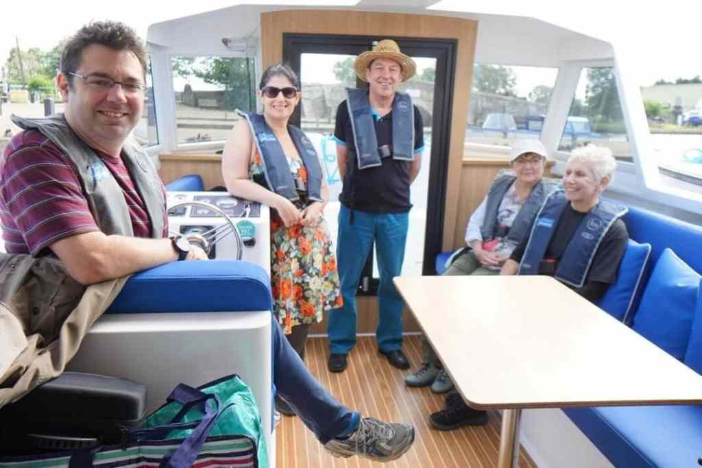 """You can see the inside of the boat is spacious and the roof is retractable. - """"Hire a Boat on the Norfolk Broads"""" - Two Traveling Texans"""