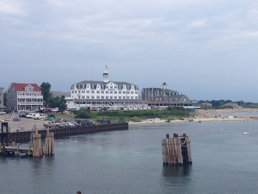 """The National Hotel, where we stayed is the white building in the middle. - """"Block Island Ferry and Travel Guide"""" - Two Traveling Texans"""