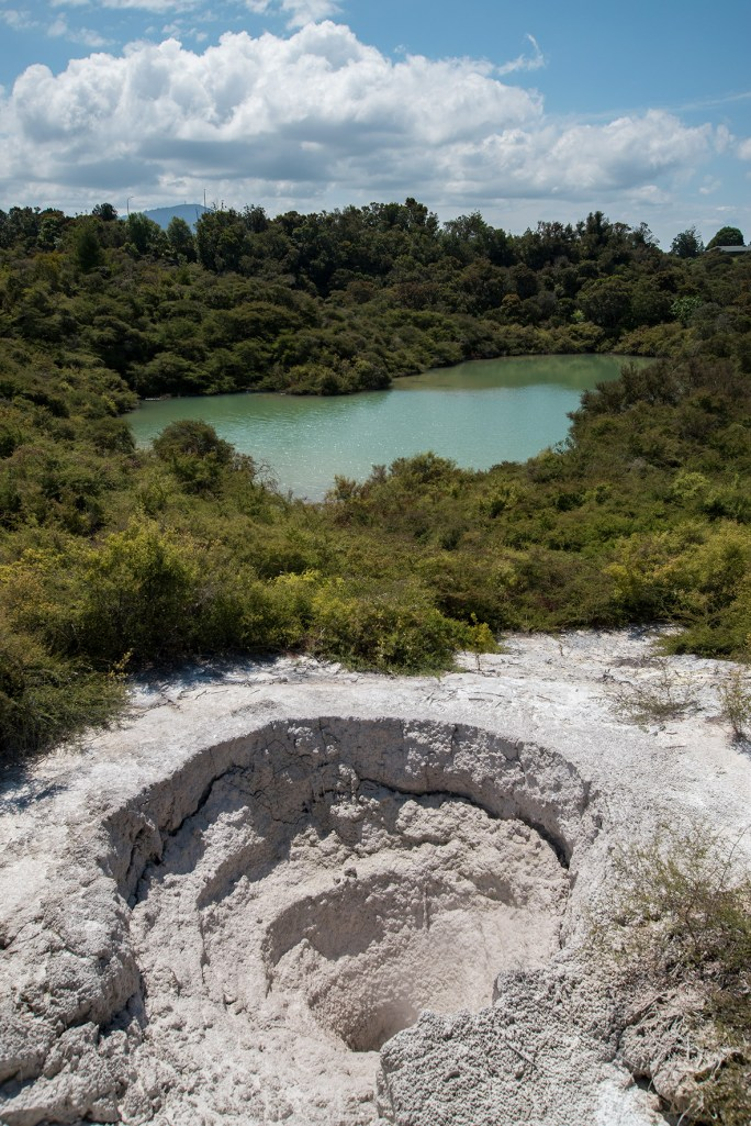 an acid lake and a steaming hole–maybe a former geyser