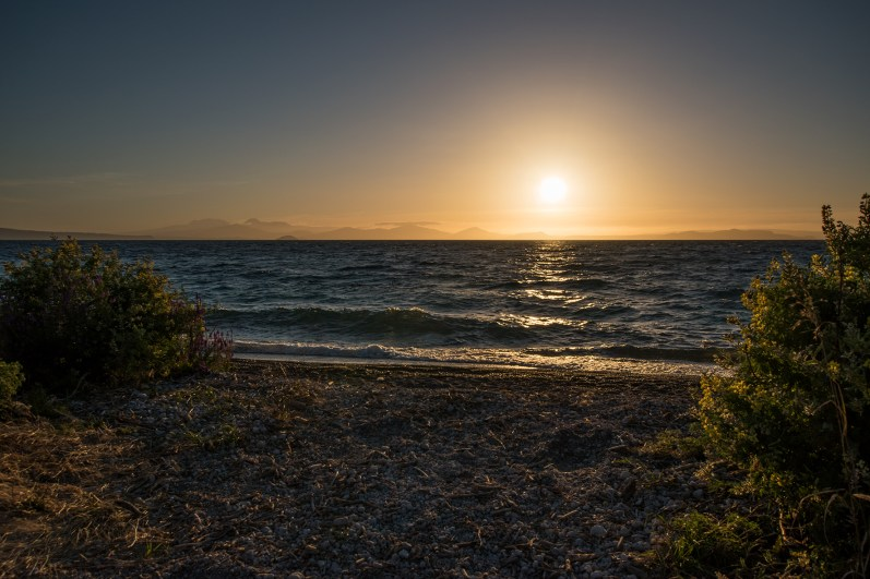 On our way: Sunset at Lake Taupo