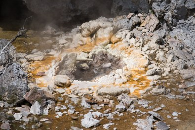 sulfur smell and steam: volcanic activities are found everywhere