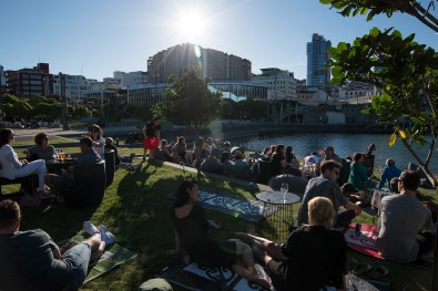 Relaxing in the sun at Wellington Waterfront
