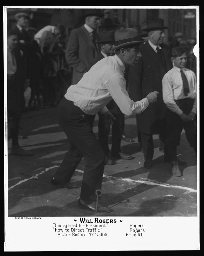 Will Rogers playing horseshoes