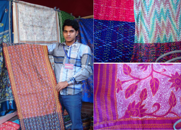 Nandu came all the way from West Bengal to display the rich heritage of Kantha work from his region. A single Kantha Sari can take up to 3-4 months to complete!