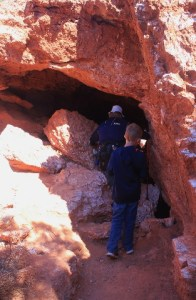 At the mouth of the tunnel under the Natural Bridge in Caprock Canyons SP, TX.