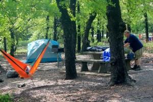Wichita Mountains Wildlife Refuge: setting up at Doris Campground.