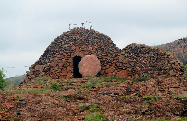 Wichita Mountains Wildlife Refuge: the tombstone at Holy City.