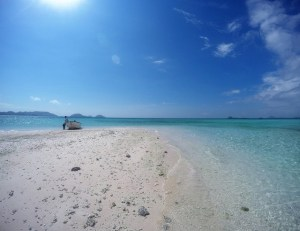 Two Worlds Treasures - White Sand Beach at Labuan Bajo, Flores, Indonesia.