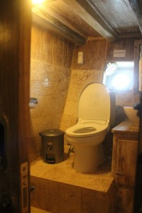 Two Worlds Treasures - one of the bathroom at the lower deck of Kajoma IV.