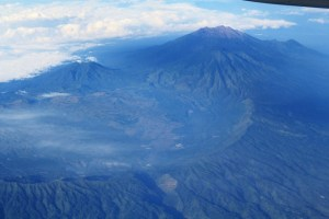 Two Worlds Treasures-volcanoes in Indonesia from the plane.