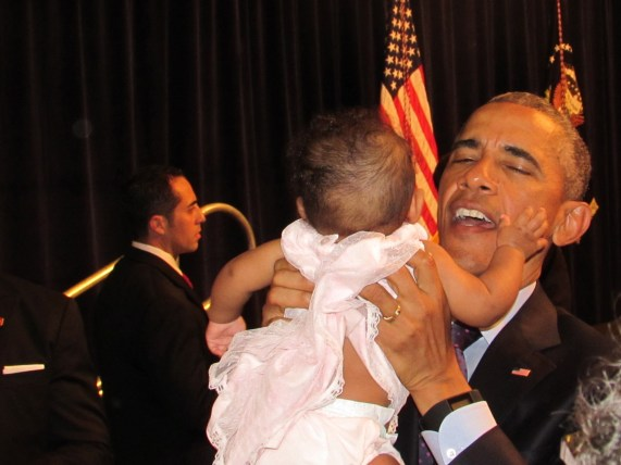 Yes, the President does actually kiss babies
