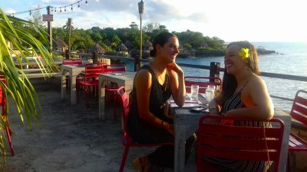 Addie and Jade at Push Cart restaurant in Negril