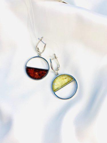 Серьги в серебре с янтарем,дизайнерские серьги,Геометрия души