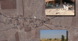 صورة من الاقمار الصناعية لقرية الحسينية اخذت في تموز 2015