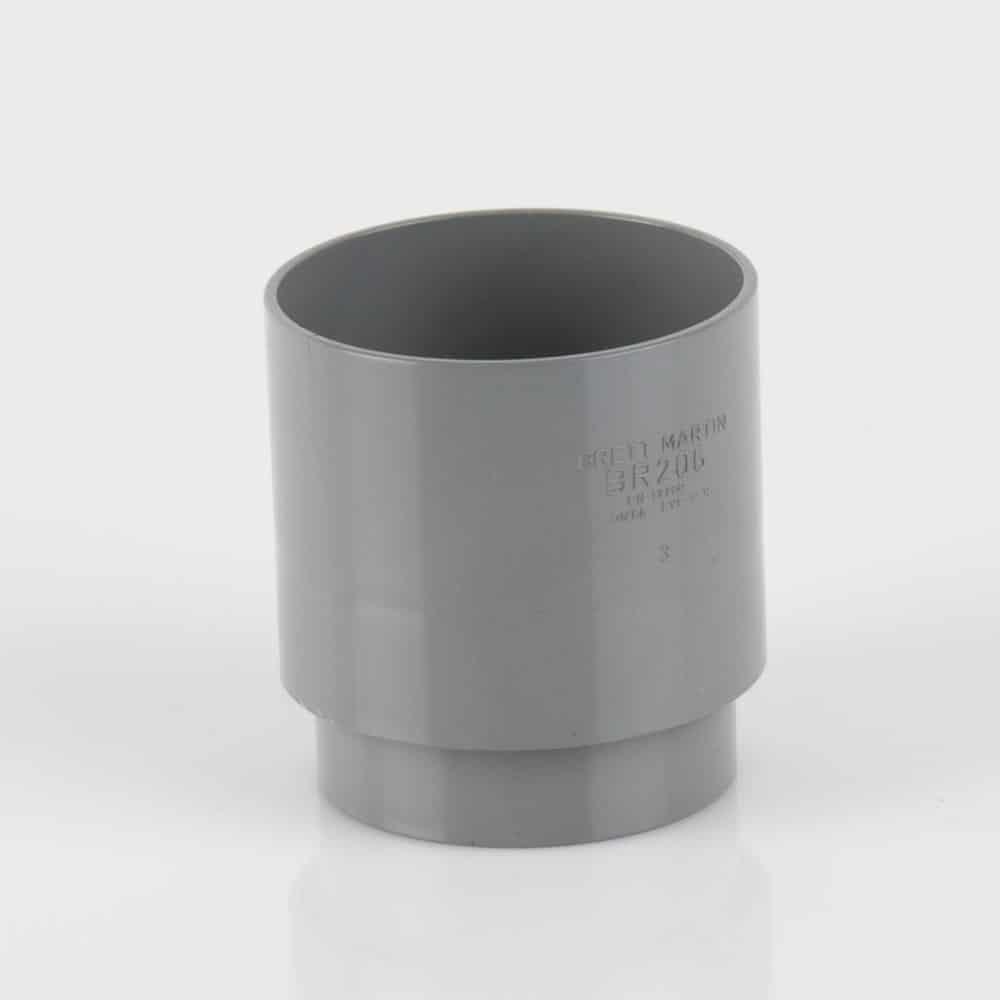 68mm Round Downpipe Socket Grey