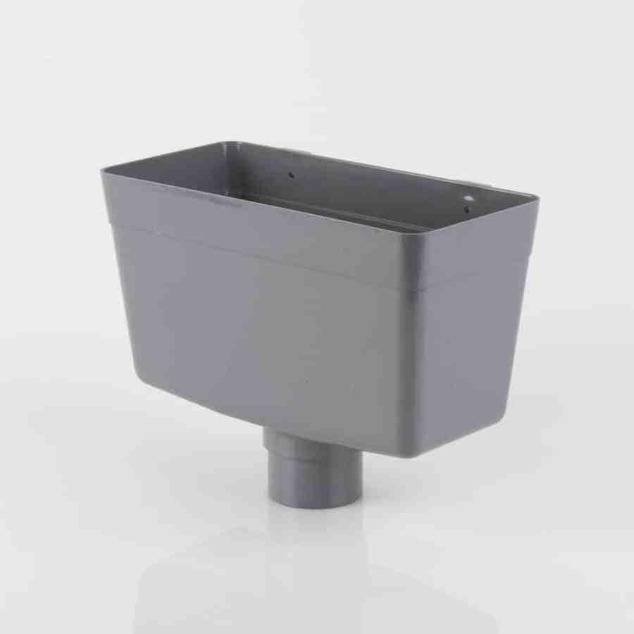 68mm Round Downpipe Hopper Head Grey