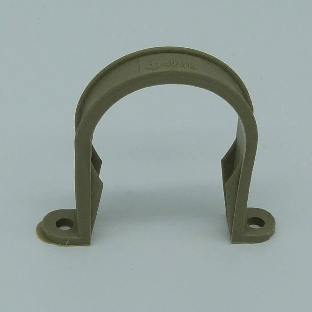 40mm Solvent Weld Pipe Clip Grey