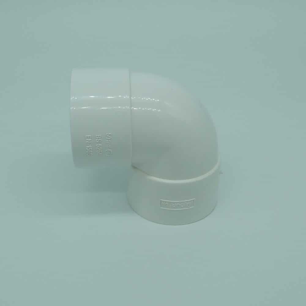 50mm Solvent Weld 90d Knuckle Bend White