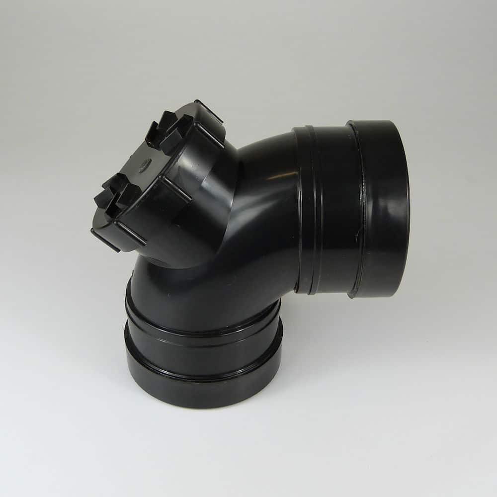 110mm PushFit Soil 90 degree Double Socket Access Bend Black