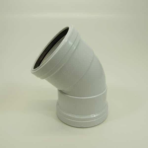 110mm Push Fit Soil 45' degree Double Socket Bend White