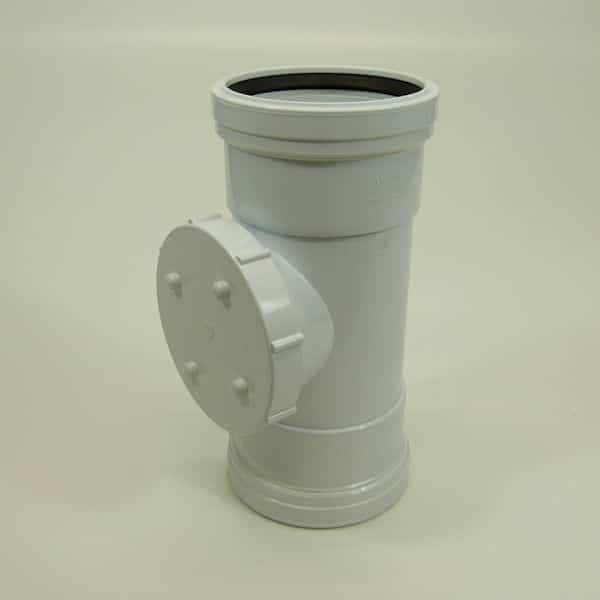 110mm Push Fit Soil Double Socket Access Pipe White