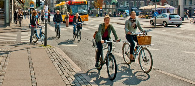 Photo of cyclists in Copenhagen, Denmark.
