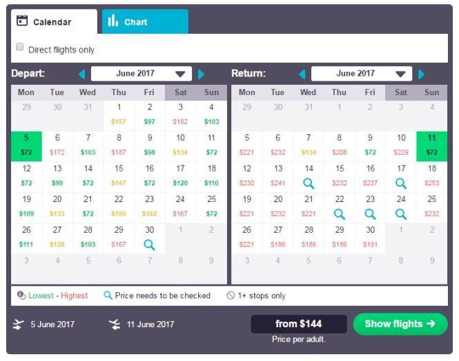 Skyscanner Calendar View $144