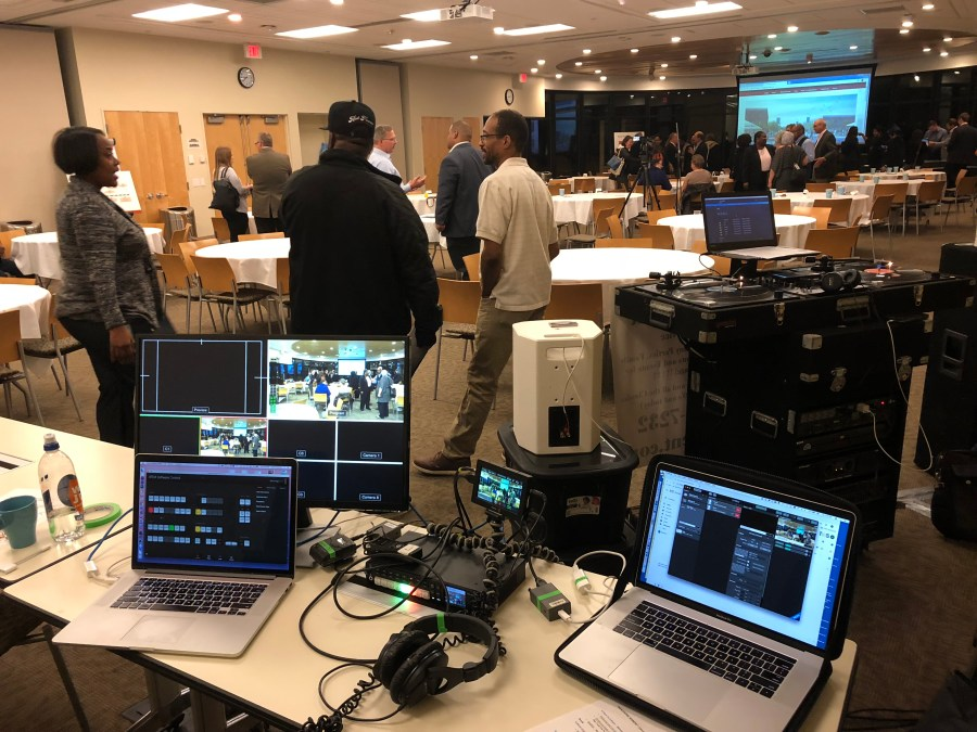 a collection of livestreaming video technology behind the scenes at a mid-sized event
