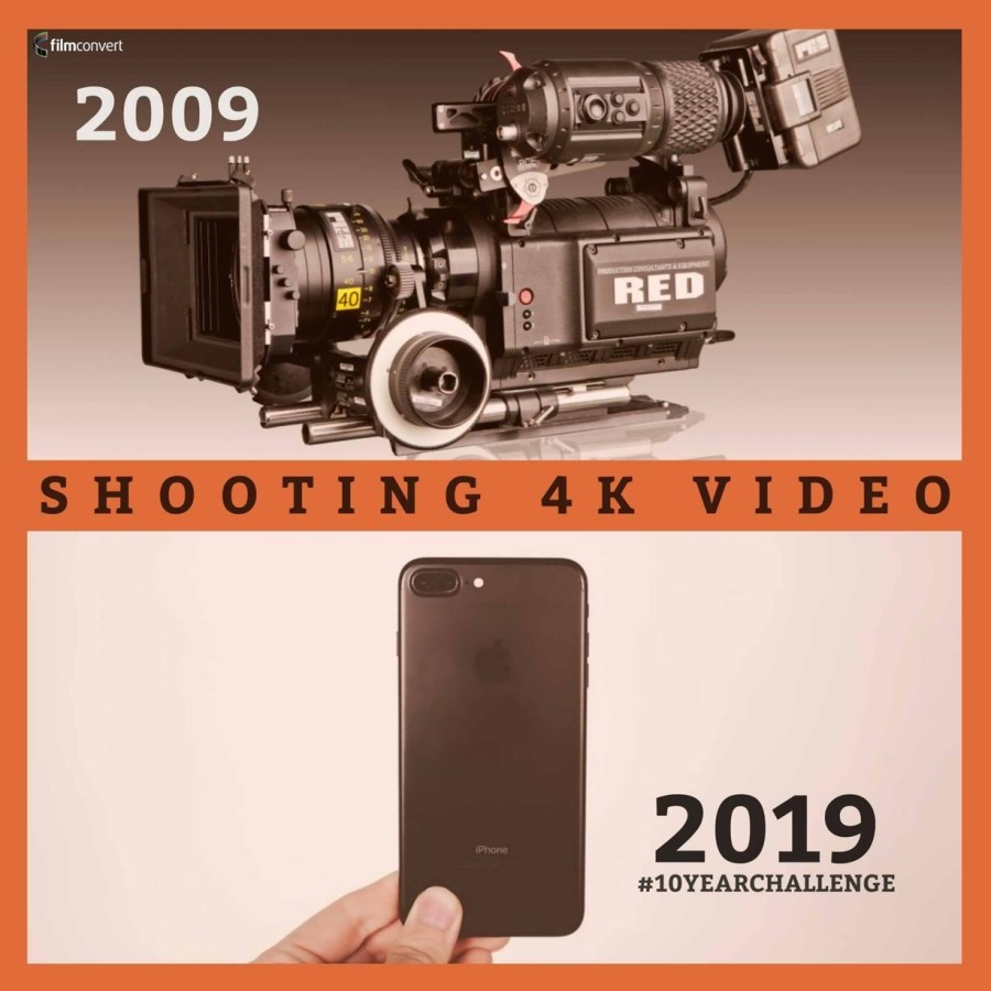"Image of expensive motion picture camera and modern smart phone. ""10 Years"" meme."