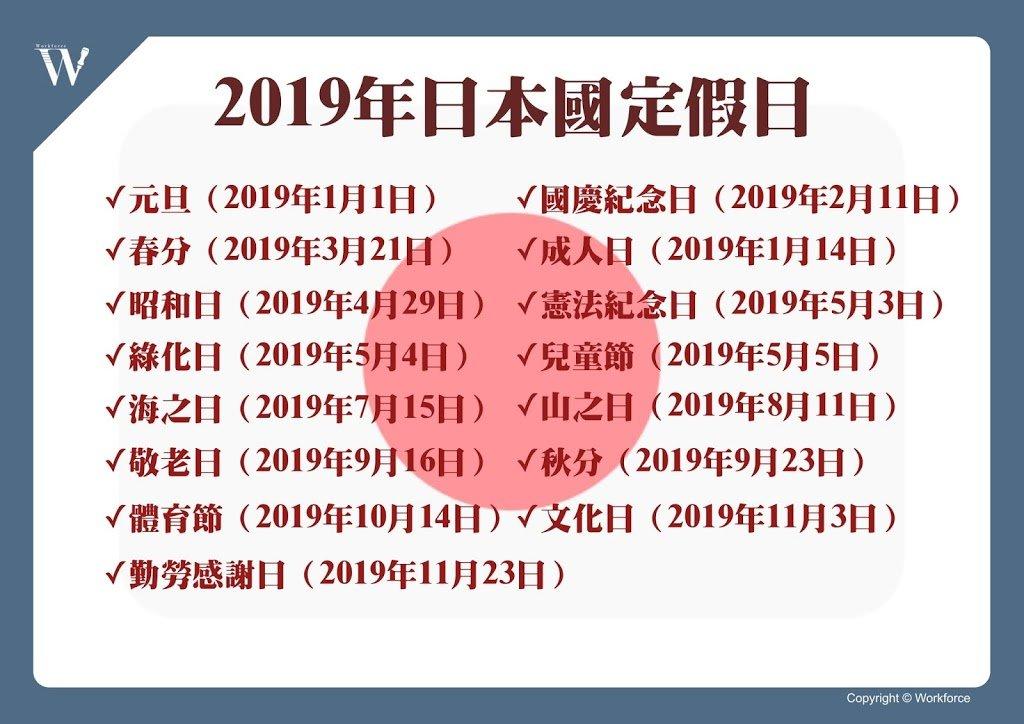 2019年日本國定假日