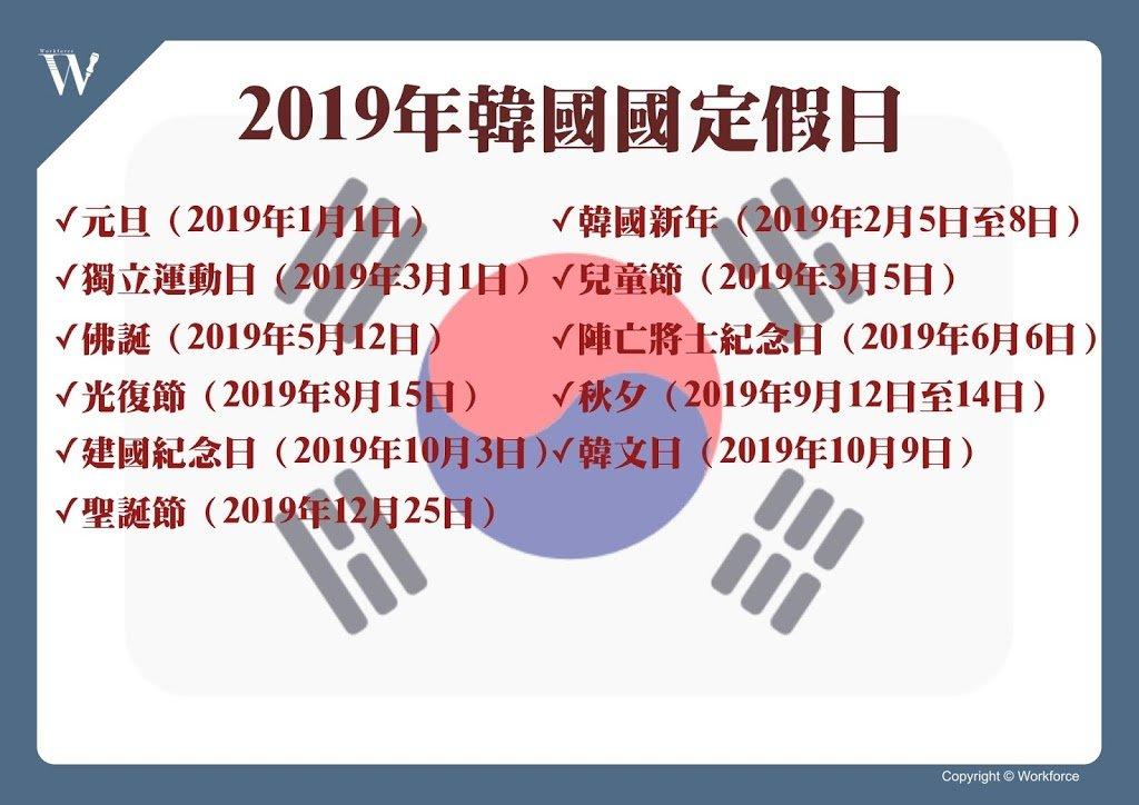 2019年韓國國定假日