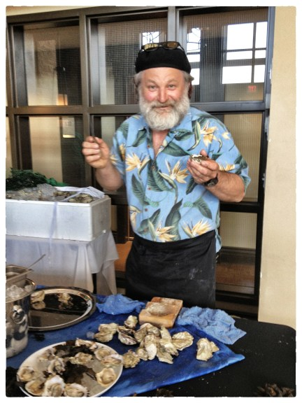 Oysterman Brent Petkau serving up some sexy Royal Courtesans from Cortes Island
