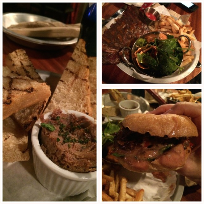 Left:  Country Toasts Top Right: Glazed Pork Ribs Bottom Right: Juicy Lucy Burger
