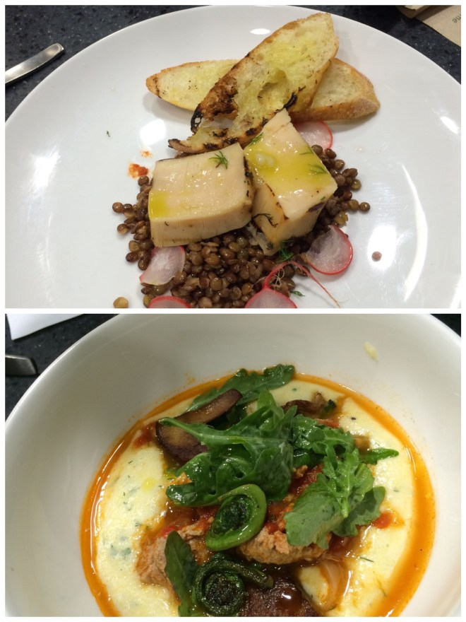 Top: Grilled, marinated squid on lentils Bottom: Osso Buco style lamb testicles on creamy polenta (Missing: Fried squid with apricot jam)