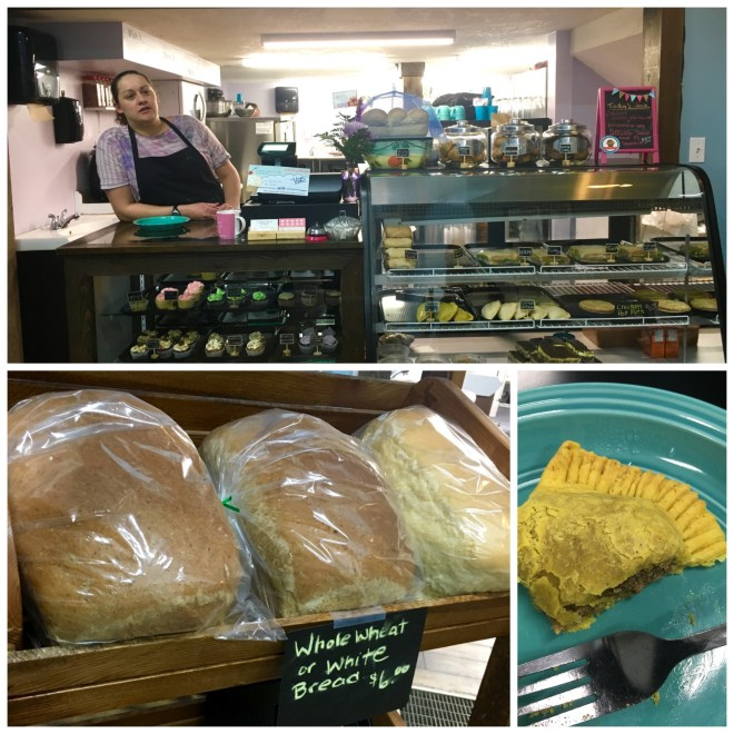 Top: Amy of Crumb's Cakery & Cafe Bottom L: Fresh Bread Bottom R: Jamaican Jerk Patty