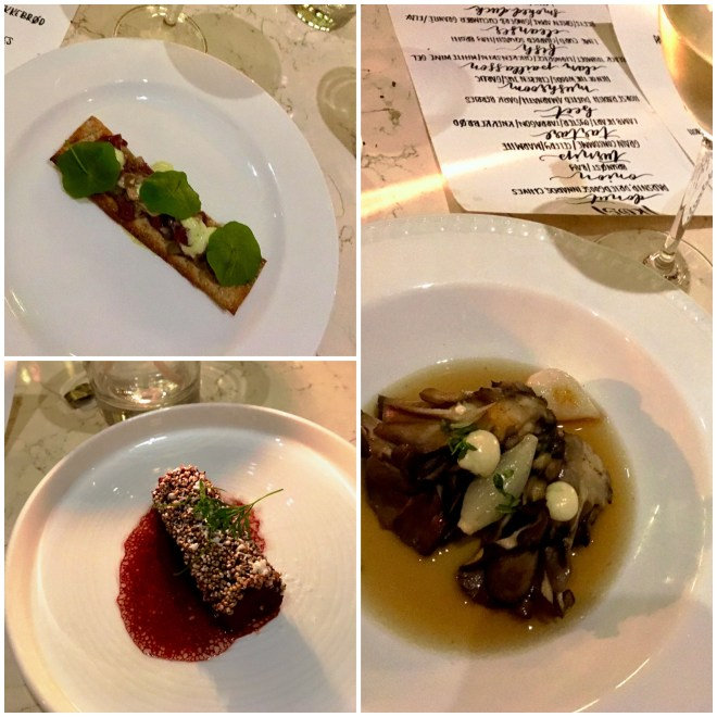 Top L: Clam paillasson topped with black trumpet mushroom, liquorice, crispy chicken skin and white wine gel. Bottom L: palate cleanser of beet and green apple nuggets with ginger and cucumber granité. Right: Sous vide Amberjack with lime curd and charred squash in hay broth.
