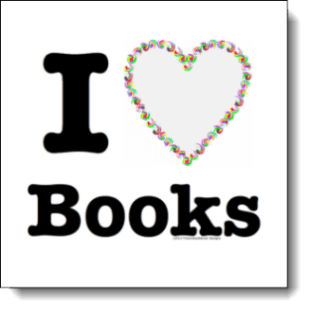 "Vibrant, cheerful, and swirly the heart in this ""I love books"" design looks as if created with flowers or pinwheels instead of delicate color filled swirls."