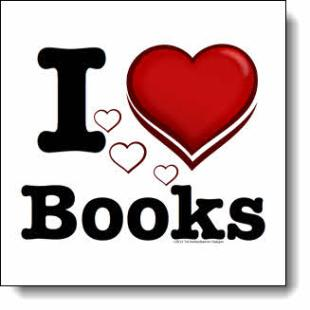 "In this ""I love books"" design a large heart hovers protectively above a flock of 3 smaller black & white hearts, like a mother duck guarding her ducklings."