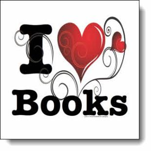 "Like ivy twisting through a fence hiding a courtyard filled with rose bushes, this ""I love books"" design brings to mind the warm hospitality of New Orleans."