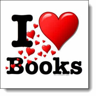 Hearts tumble & roll creating a cheerful path from lower right to upper left ending in a large bold heart on the top of the pile in this I love books design
