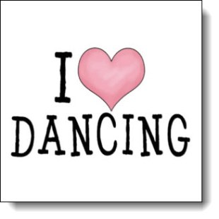 """Clear, clean, simple, fun and direct: """"I Love Dancing"""" using a pink heart in place of the word """"love"""" - Perfect gift for any dancer or those who love them"""