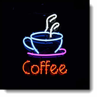 Glowing like a beacon in the late night & early morning this beautiful Neon Coffee Sign floats in the blackness. Choose from 100+ products with this design