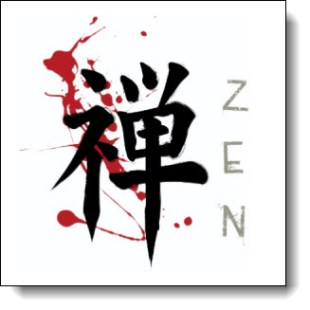 Japanese Zen Kanji with Paint Splatter -- Combining elements from past and present this design brings the ancient Japanese symbol for Zen into the present by placing it against a grunge backdrop of bold paint splatters. The English translation of the Kanji is placed to the side in a grunge script that has a very Asian feel to the font.