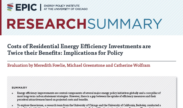 Costs of Residential Energy Efficiency Investments are Twice their Benefits: Implications for Policy