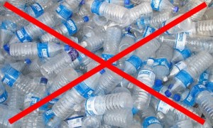 Help to reduce this waste! Stock photo showing water bottles