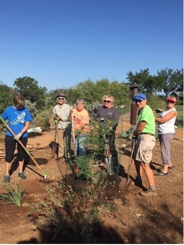 Volunteers working on Native Plant Garden
