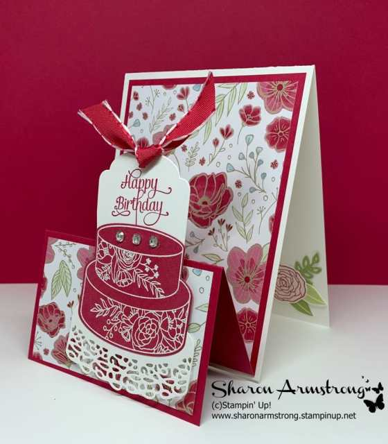 Happy-Birthday-Handmade-Card-with-Red-Frosted-Cake-and-Floral-Designer-Paper
